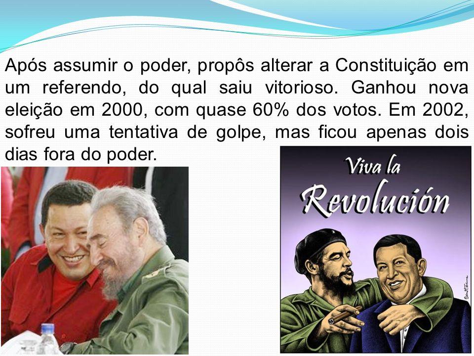 Após assumir o poder, propôs alterar a Constituição em um referendo, do qual saiu vitorioso. Ganhou nova eleição em 2000, com quase 60% dos votos. Em