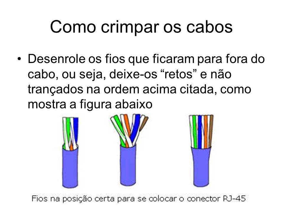 Como crimpar os cabos Desenrole os fios que ficaram para fora do cabo, ou seja, deixe-os retos e não trançados na ordem acima citada, como mostra a fi