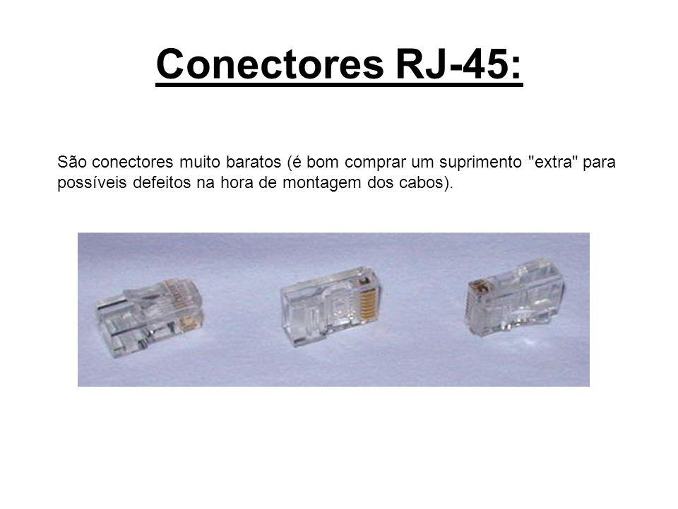 Conectores RJ-45: São conectores muito baratos (é bom comprar um suprimento