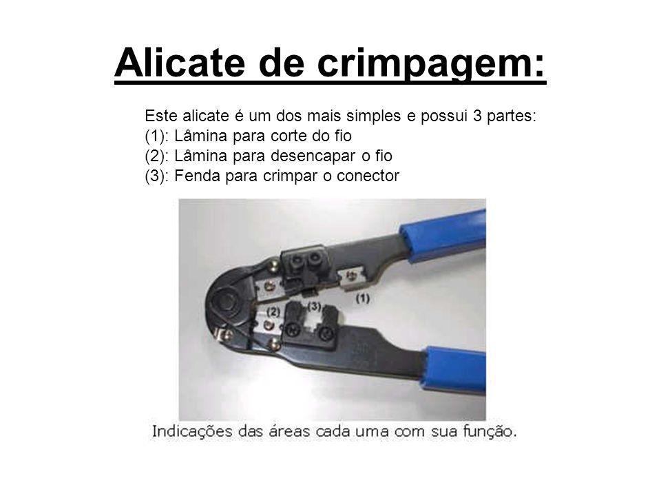 Alicate de crimpagem: Este alicate é um dos mais simples e possui 3 partes: (1): Lâmina para corte do fio (2): Lâmina para desencapar o fio (3): Fenda