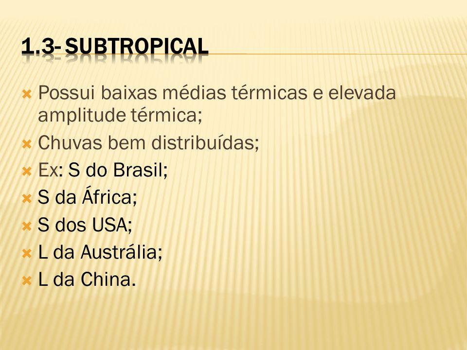 Possui baixas médias térmicas e elevada amplitude térmica; Chuvas bem distribuídas; Ex: S do Brasil; S da África; S dos USA; L da Austrália; L da Chin