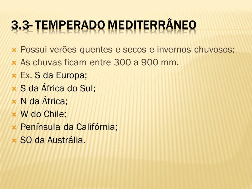 Possui verões quentes e secos e invernos chuvosos; As chuvas ficam entre 300 a 900 mm. Ex. S da Europa; S da África do Sul; N da África; W do Chile; P