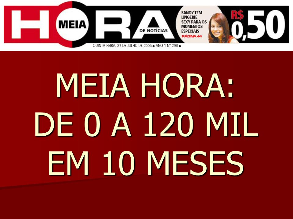 Mercado de jornais no Rio em setembro de 2005 CLASSE A – O Globo e Jornal do Brasil CLASSE A – O Globo e Jornal do Brasil CLASSE B – O DIA, O Globo e Extra CLASSE B – O DIA, O Globo e Extra CLASSE C – O DIA e Extra CLASSE C – O DIA e Extra Apesar de atendida por dois grandes veículos, a Classe C ainda oferecia um grande mercado para jornais no Rio de Janeiro.