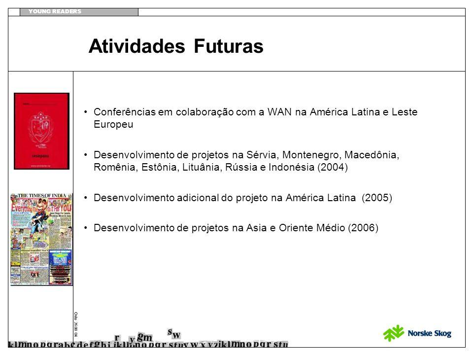 YOUNG READERS Oslo 26.08 04 Atividades Futuras Conferências em colaboração com a WAN na América Latina e Leste Europeu Desenvolvimento de projetos na Sérvia, Montenegro, Macedônia, Romênia, Estônia, Lituânia, Rússia e Indonésia (2004) Desenvolvimento adicional do projeto na América Latina (2005) Desenvolvimento de projetos na Asia e Oriente Médio (2006)