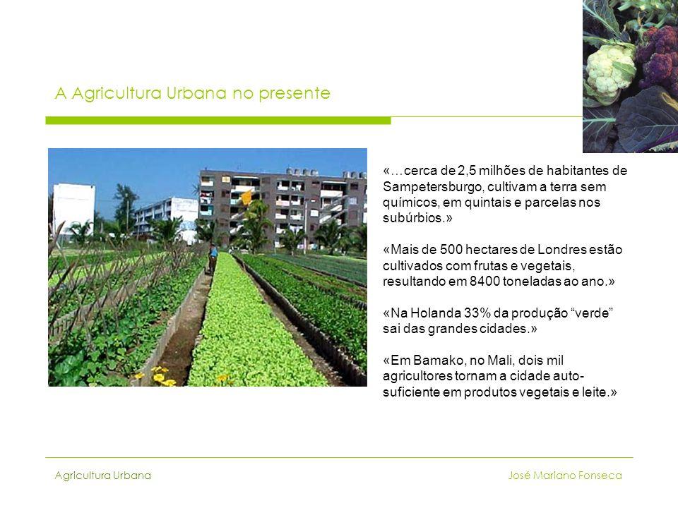 Agricultura Urbana José Mariano Fonseca A Agricultura Urbana no presente «…cerca de 2,5 milhões de habitantes de Sampetersburgo, cultivam a terra sem