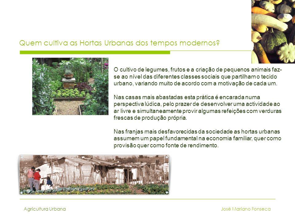 Agricultura Urbana José Mariano Fonseca Quem cultiva as Hortas Urbanas dos tempos modernos? O cultivo de legumes, frutos e a criação de pequenos anima