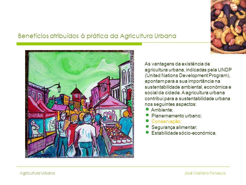 Agricultura Urbana José Mariano Fonseca Benefícios atribuídos à prática da Agricultura Urbana As vantagens da existência de agricultura urbana, indica