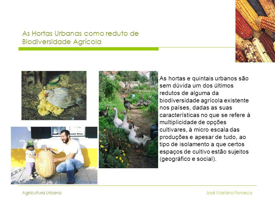 Agricultura Urbana José Mariano Fonseca As Hortas Urbanas como reduto de Biodiversidade Agrícola As hortas e quintais urbanos são sem dúvida um dos úl