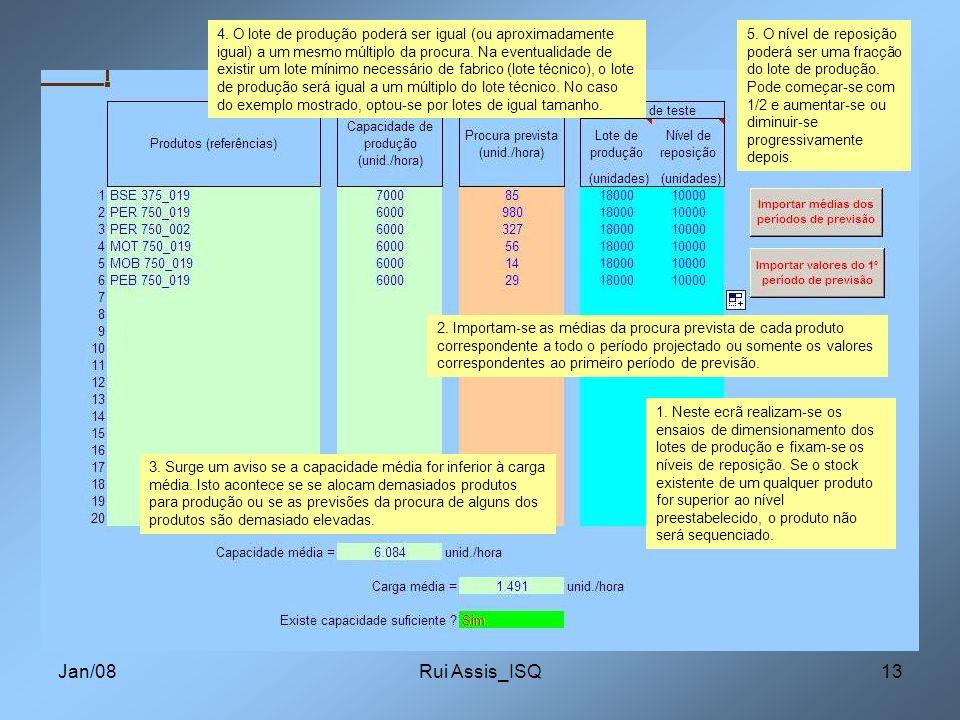 Jan/08Rui Assis_ISQ13 1. Neste ecrã realizam-se os ensaios de dimensionamento dos lotes de produção e fixam-se os níveis de reposição. Se o stock exis