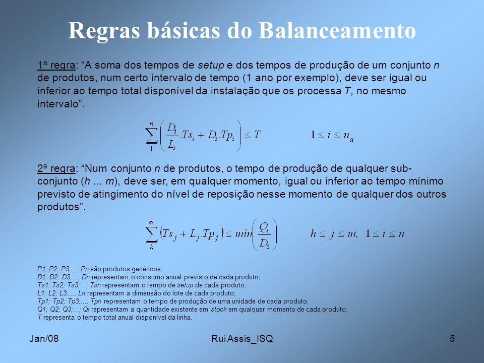 Jan/08Rui Assis_ISQ5 Regras básicas do Balanceamento 1ª regra: A soma dos tempos de setup e dos tempos de produção de um conjunto n de produtos, num c