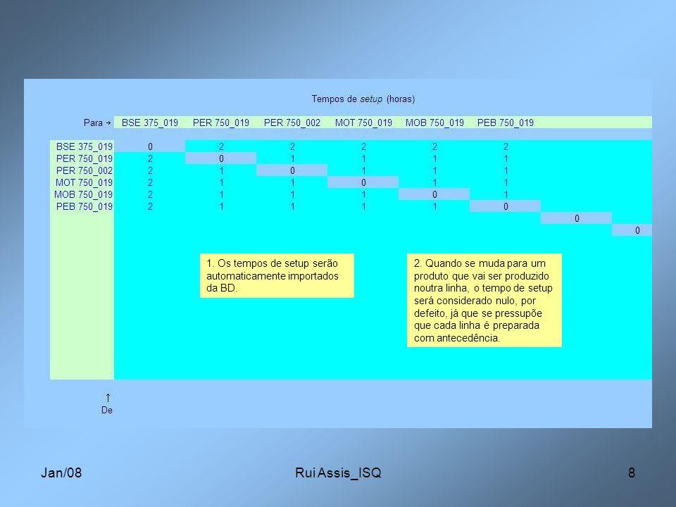 Jan/08Rui Assis_ISQ8 1. Os tempos de setup serão automaticamente importados da BD. 2. Quando se muda para um produto que vai ser produzido noutra linh
