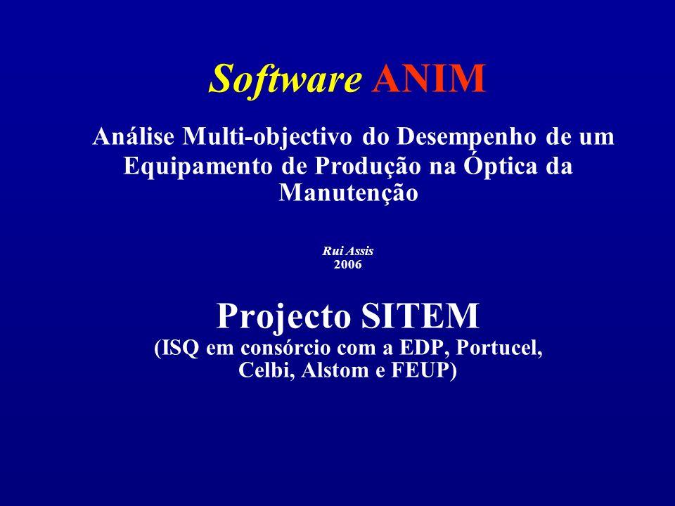 Software ANIM Análise Multi-objectivo do Desempenho de um Equipamento de Produção na Óptica da Manutenção Rui Assis 2006 Projecto SITEM (ISQ em consórcio com a EDP, Portucel, Celbi, Alstom e FEUP)