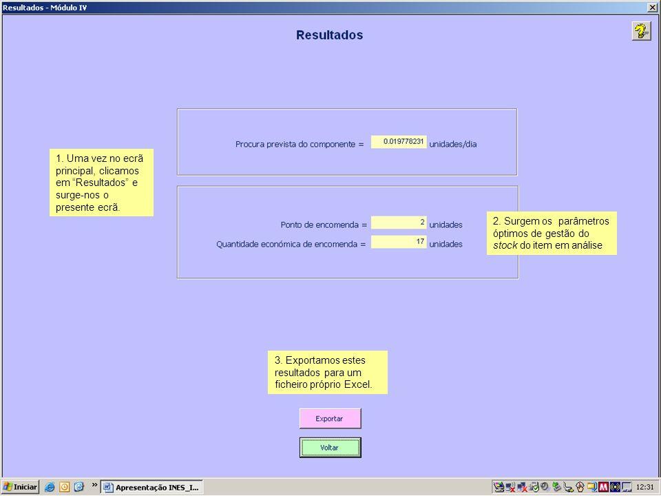 1. Uma vez no ecrã principal, clicamos em Resultados e surge-nos o presente ecrã. 2. Surgem os parâmetros óptimos de gestão do stock do item em anális
