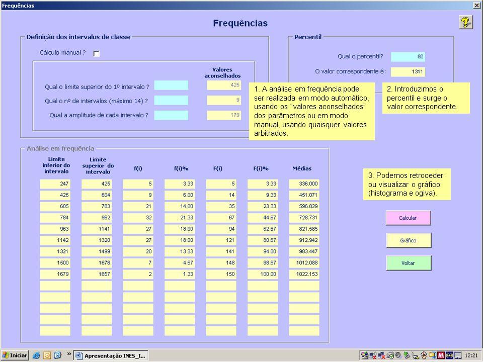 1. A análise em frequência pode ser realizada em modo automático, usando os valores aconselhados dos parâmetros ou em modo manual, usando quaisquer va