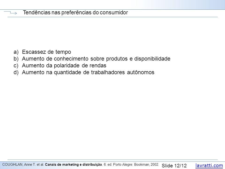 lavratti.com Slide 12/12 Tendências nas preferências do consumidor COUGHLAN, Anne T. et al. Canais de marketing e distribuição. 6. ed. Porto Alegre: B