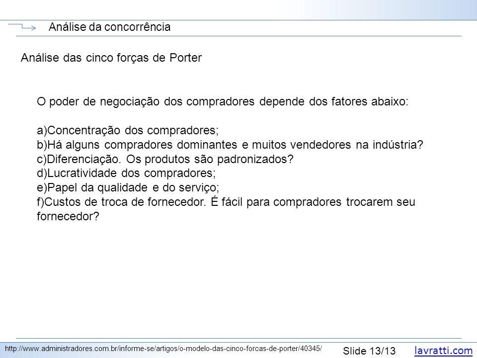 lavratti.com Slide 13/13 Análise da concorrência http://www.administradores.com.br/informe-se/artigos/o-modelo-das-cinco-forcas-de-porter/40345/ Análi