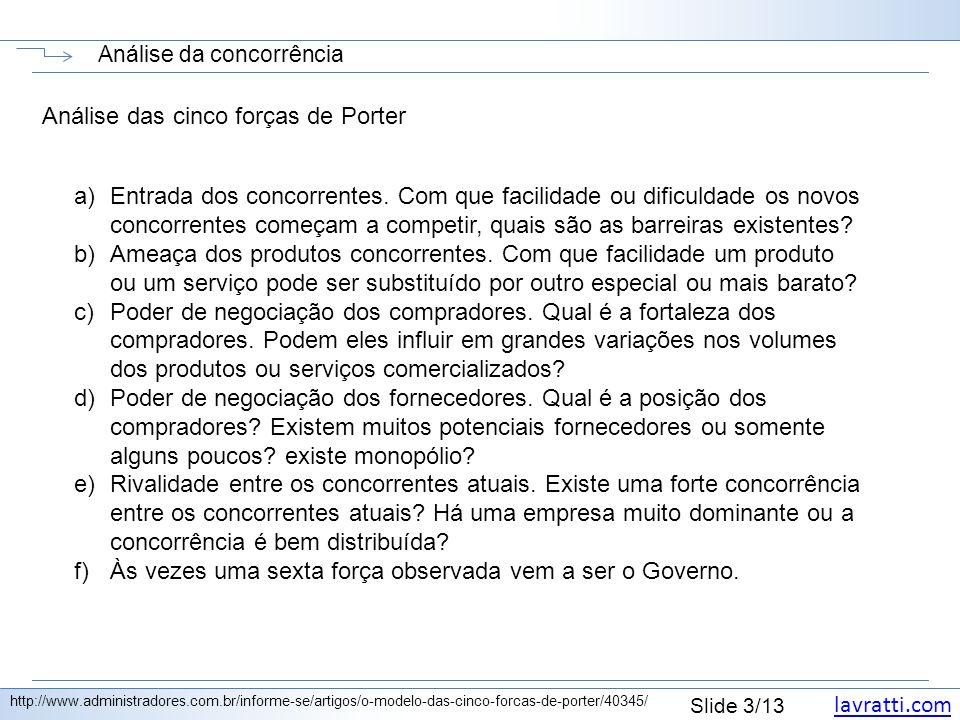 lavratti.com Slide 3/13 Análise da concorrência http://www.administradores.com.br/informe-se/artigos/o-modelo-das-cinco-forcas-de-porter/40345/ Anális