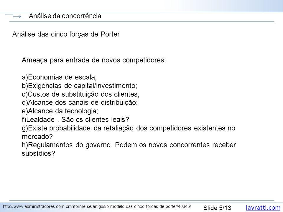 lavratti.com Slide 5/13 Análise da concorrência http://www.administradores.com.br/informe-se/artigos/o-modelo-das-cinco-forcas-de-porter/40345/ Anális