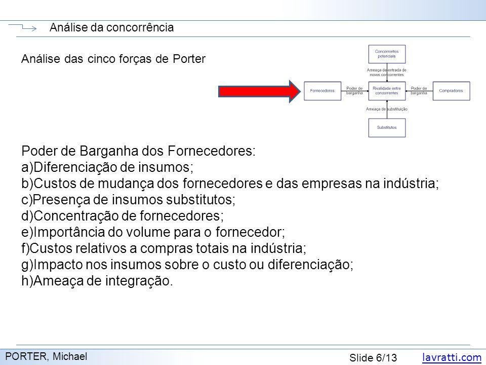 lavratti.com Slide 7/13 Análise da concorrência http://www.administradores.com.br/informe-se/artigos/o-modelo-das-cinco-forcas-de-porter/40345/ Análise das cinco forças de Porter Ordem de negociação dos fornecedores depende de: a)Concentração dos fornecedores.