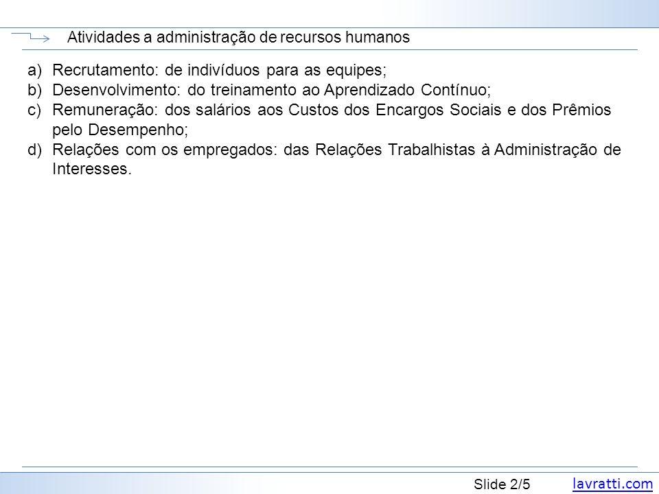 lavratti.com Slide 2/5 Atividades a administração de recursos humanos a)Recrutamento: de indivíduos para as equipes; b)Desenvolvimento: do treinamento