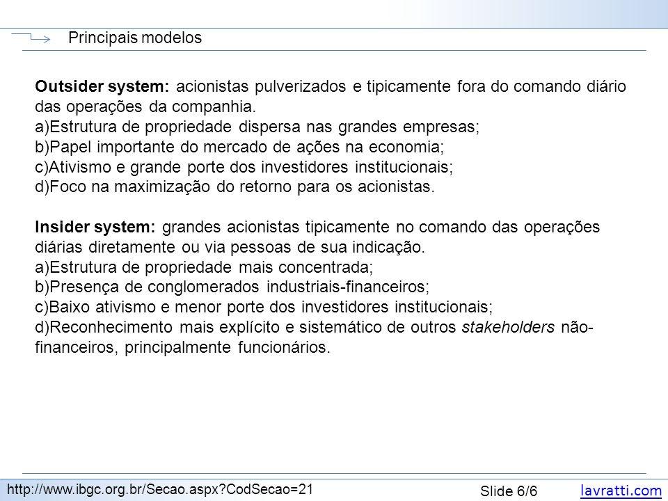 lavratti.com Slide 6/6 Principais modelos http://www.ibgc.org.br/Secao.aspx?CodSecao=21 Outsider system: acionistas pulverizados e tipicamente fora do