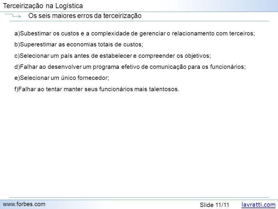 lavratti.com Slide 11/11 Terceirização na Logística Os seis maiores erros da terceirização www.forbes.com a)Subestimar os custos e a complexidade de g
