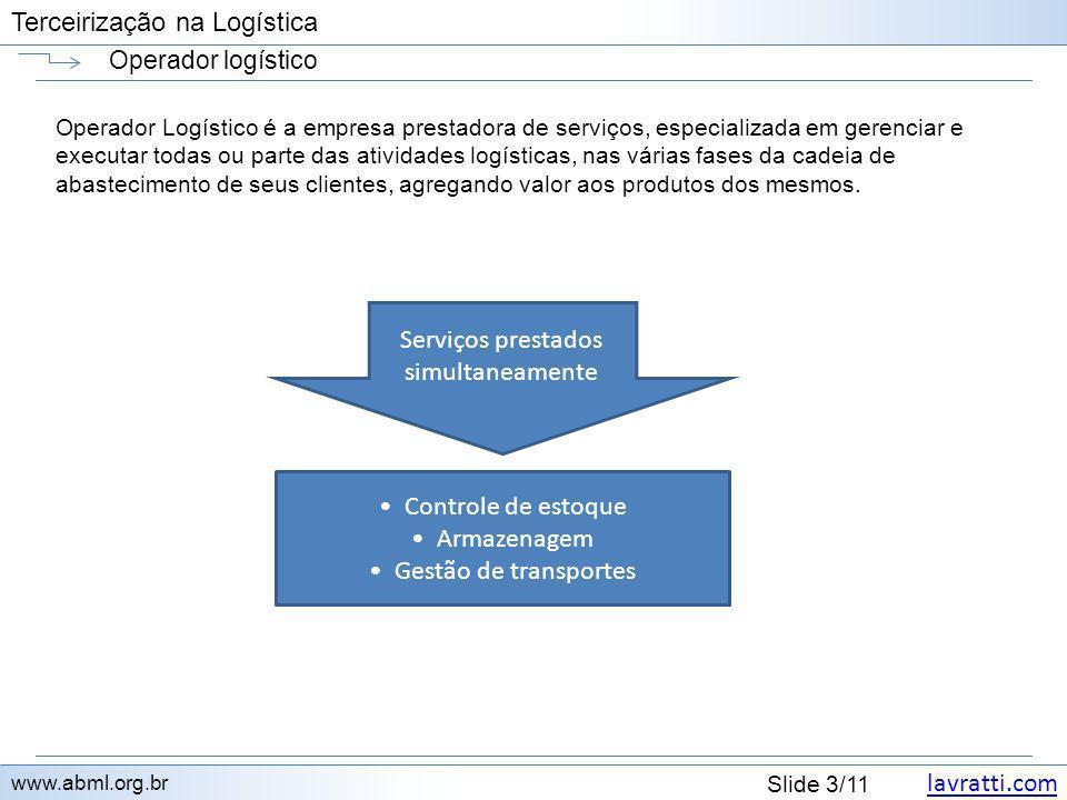 lavratti.com Slide 3/11 Terceirização na Logística Operador logístico www.abml.org.br Operador Logístico é a empresa prestadora de serviços, especiali