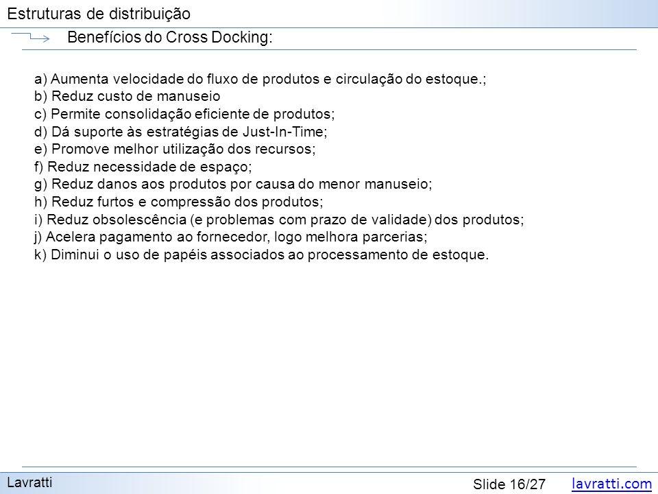 lavratti.com Estruturas de distribuição lavratti.com Slide 16/27 Estruturas de distribuição Benefícios do Cross Docking: Lavratti a) Aumenta velocidad