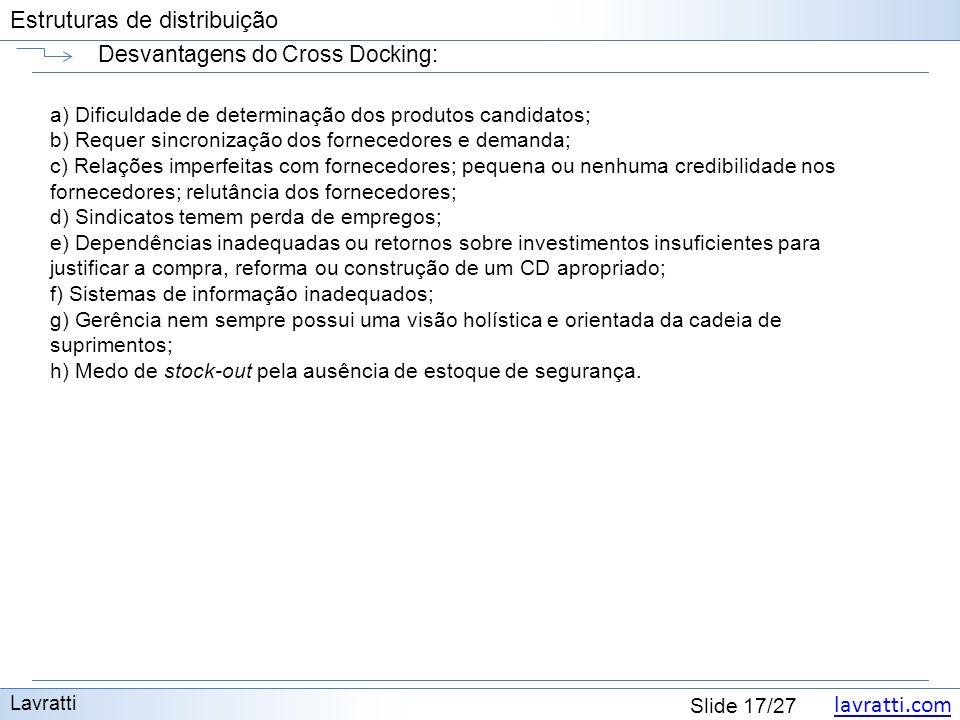 lavratti.com Estruturas de distribuição lavratti.com Slide 17/27 Estruturas de distribuição Desvantagens do Cross Docking: Lavratti a) Dificuldade de