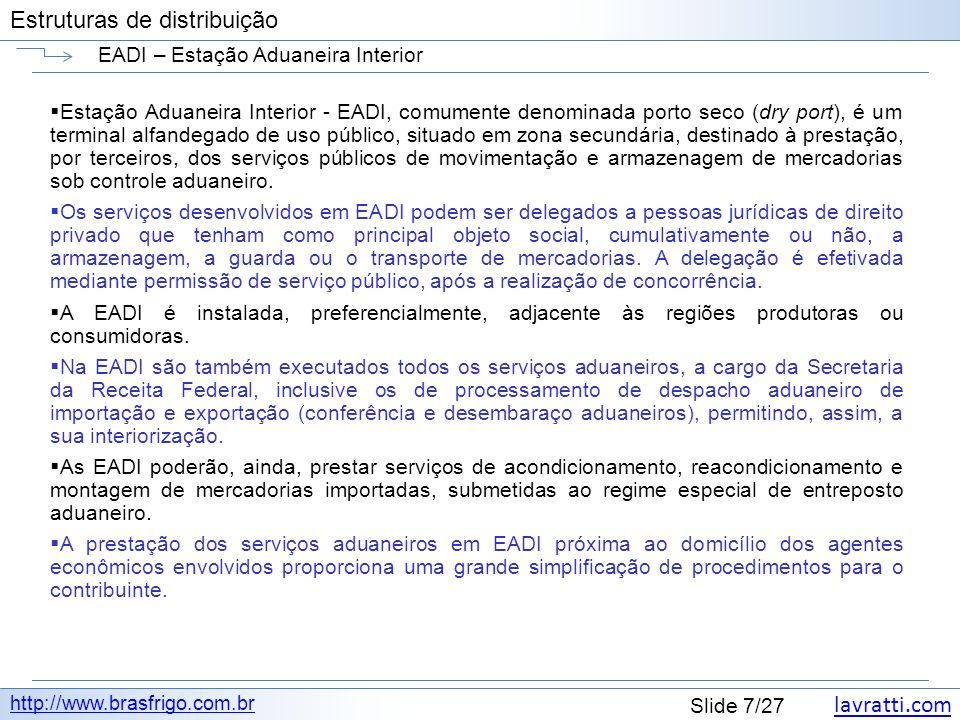 lavratti.com Estruturas de distribuição lavratti.com Slide 7/27 Estruturas de distribuição EADI – Estação Aduaneira Interior http://www.brasfrigo.com.