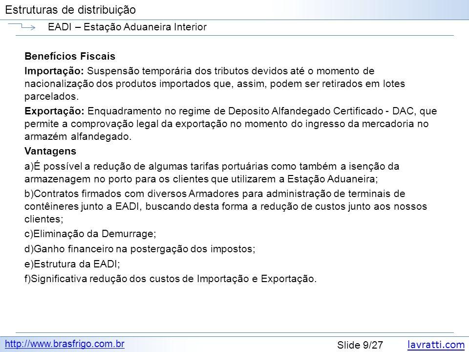 lavratti.com Estruturas de distribuição lavratti.com Slide 9/27 Estruturas de distribuição EADI – Estação Aduaneira Interior http://www.brasfrigo.com.