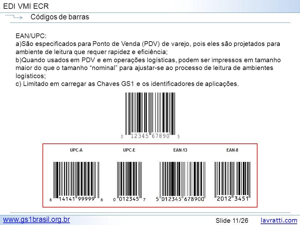 lavratti.com Slide 11/26 EDI VMI ECR Códigos de barras www.gs1brasil.org.br EAN/UPC: a)São especificados para Ponto de Venda (PDV) de varejo, pois ele