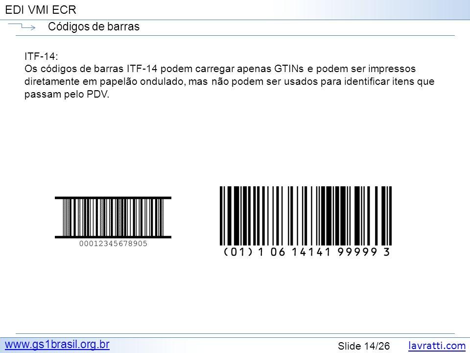lavratti.com Slide 14/26 EDI VMI ECR Códigos de barras www.gs1brasil.org.br ITF-14: Os códigos de barras ITF-14 podem carregar apenas GTINs e podem se