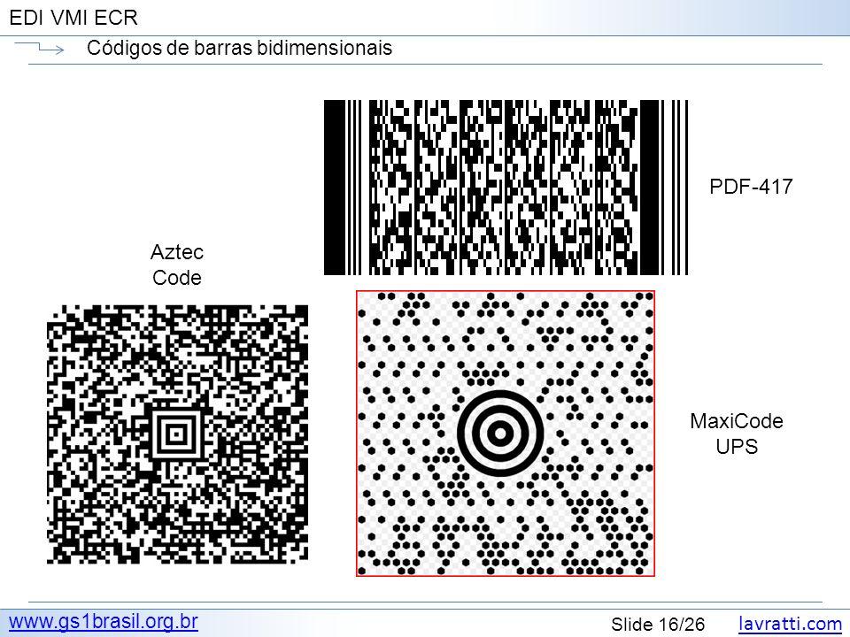 lavratti.com Slide 16/26 EDI VMI ECR Códigos de barras bidimensionais www.gs1brasil.org.br PDF-417 MaxiCode UPS Aztec Code