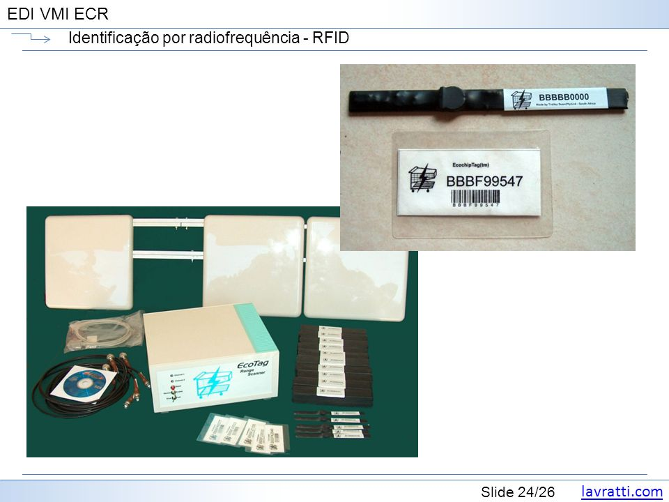 lavratti.com Slide 24/26 EDI VMI ECR Identificação por radiofrequência - RFID
