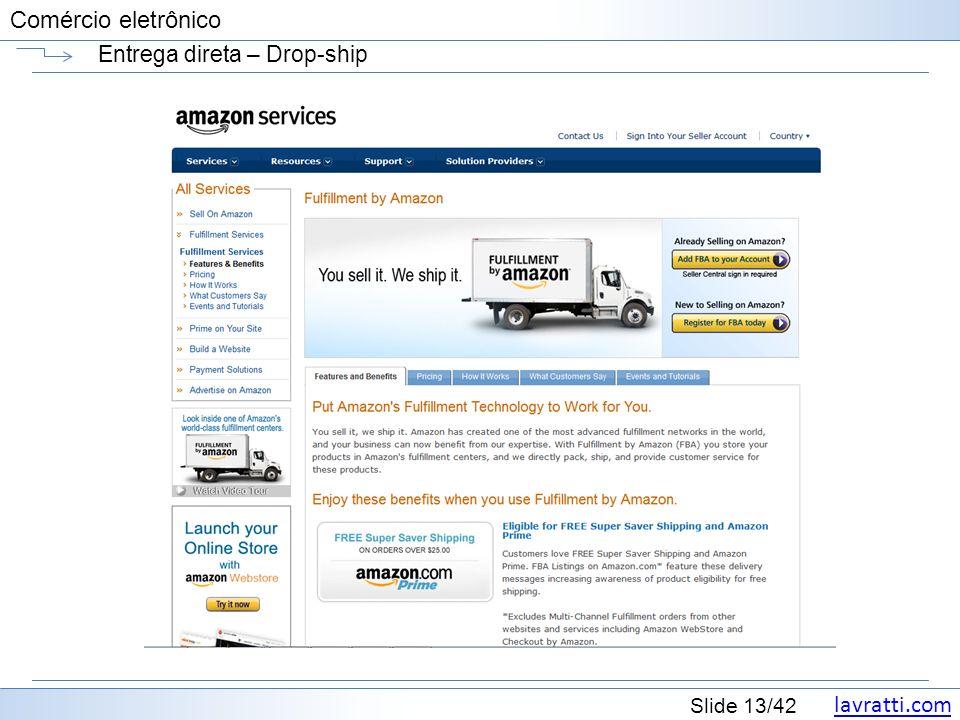 lavratti.com Slide 13/42 Comércio eletrônico Entrega direta – Drop-ship