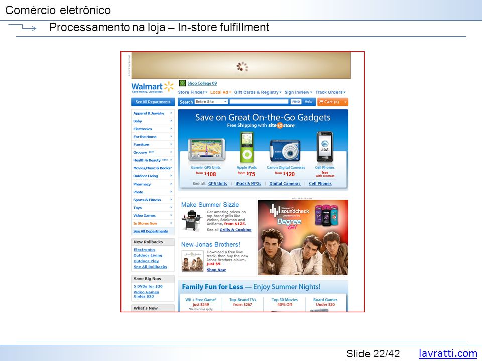 lavratti.com Slide 22/42 Comércio eletrônico Processamento na loja – In-store fulfillment