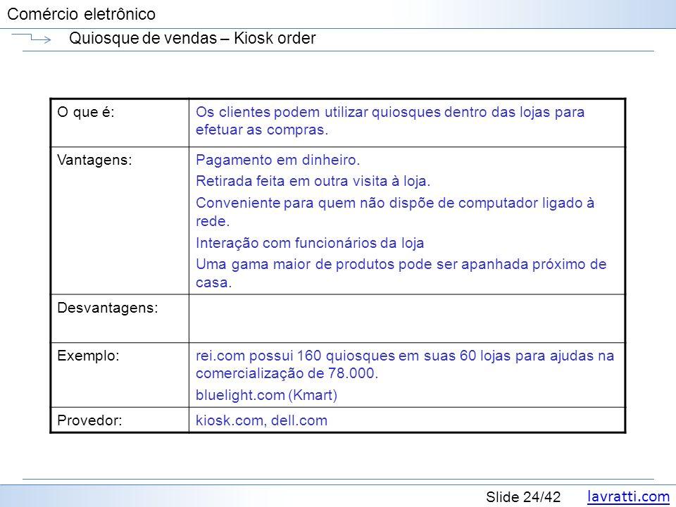 lavratti.com Slide 24/42 Comércio eletrônico Quiosque de vendas – Kiosk order O que é:Os clientes podem utilizar quiosques dentro das lojas para efetu