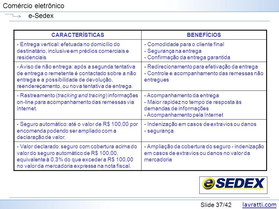 lavratti.com Slide 37/42 Comércio eletrônico e-Sedex CARACTERÍSTICASBENEFÍCIOS - Entrega vertical: efetuada no domicílio do destinatário, inclusive em