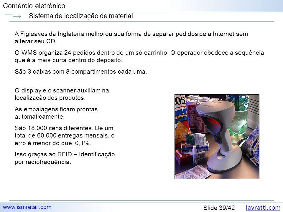 lavratti.com Slide 39/42 Comércio eletrônico Sistema de localização de material www.ismretail.com A Figleaves da Inglaterra melhorou sua forma de sepa