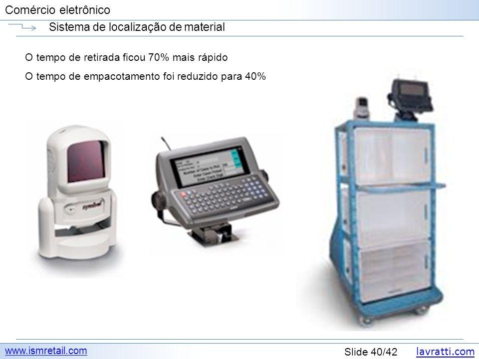 lavratti.com Slide 40/42 Comércio eletrônico Sistema de localização de material www.ismretail.com O tempo de retirada ficou 70% mais rápido O tempo de