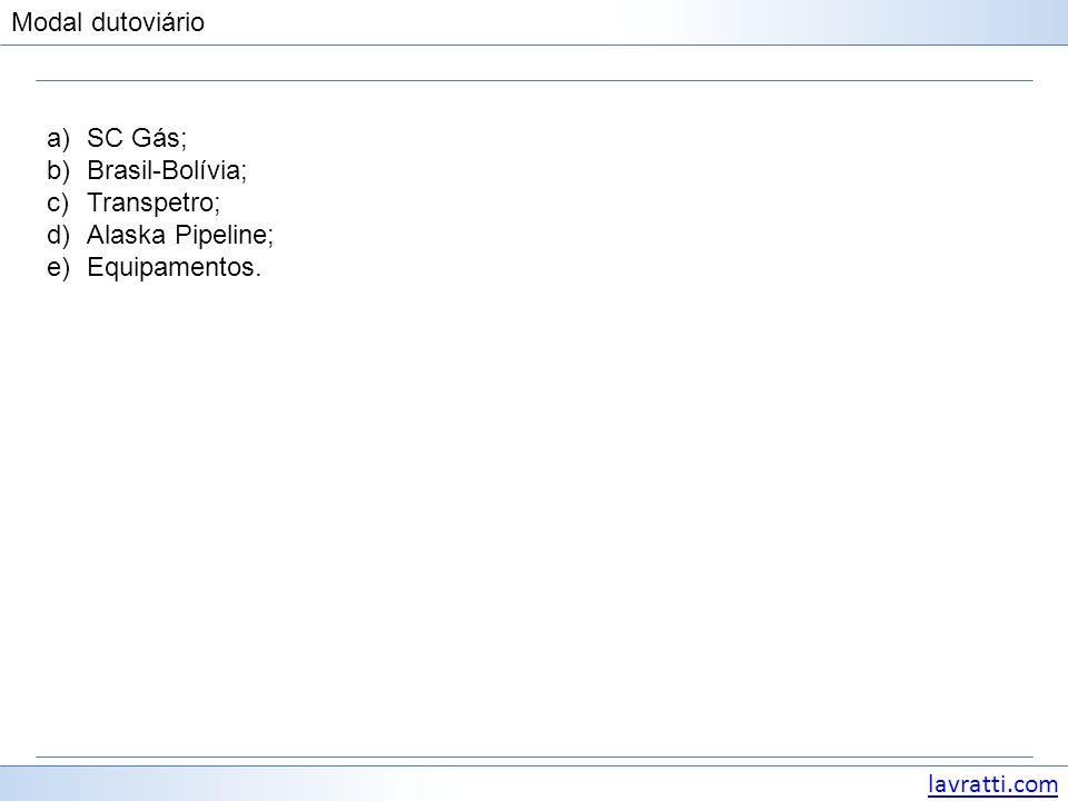 lavratti.com Modal dutoviário a)SC Gás; b)Brasil-Bolívia; c)Transpetro; d)Alaska Pipeline; e)Equipamentos.