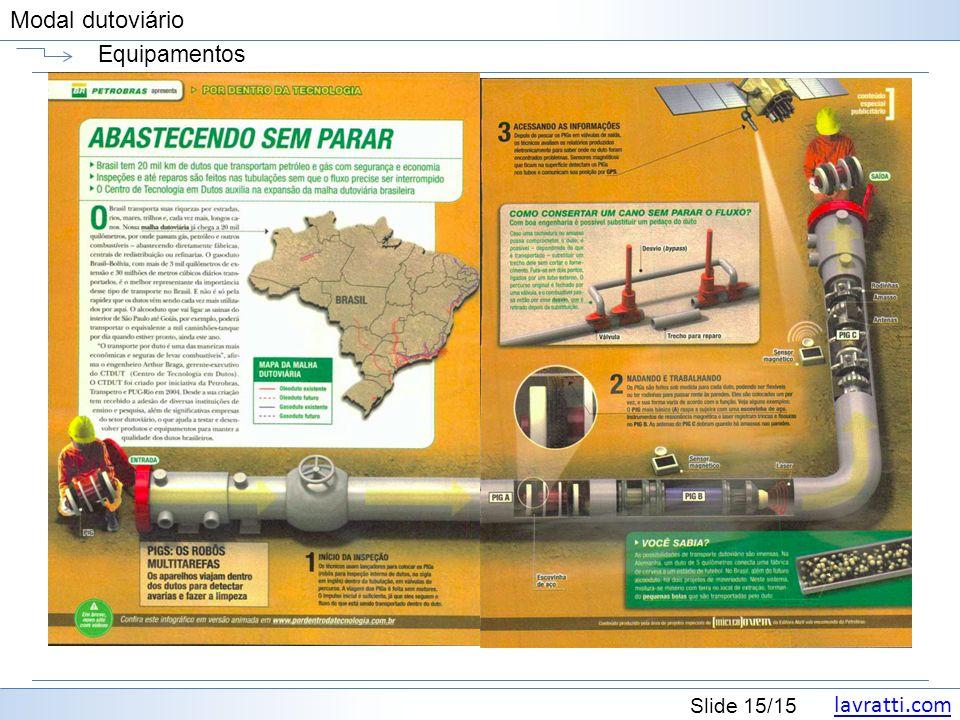 lavratti.com Slide 15/15 Modal dutoviário Equipamentos