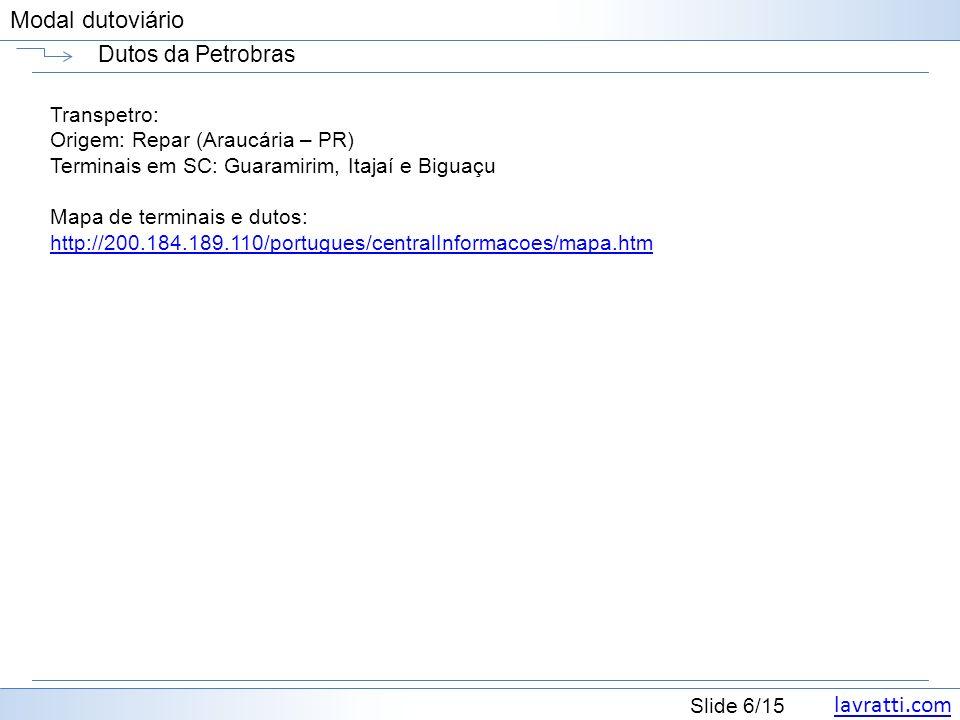 lavratti.com Slide 6/15 Modal dutoviário Dutos da Petrobras Transpetro: Origem: Repar (Araucária – PR) Terminais em SC: Guaramirim, Itajaí e Biguaçu M