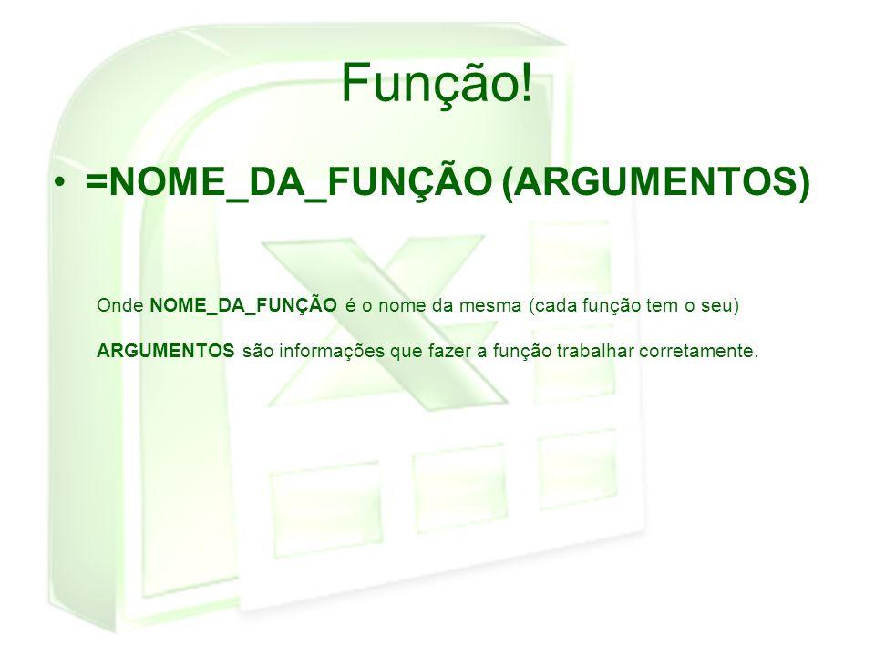 Função! =NOME_DA_FUNÇÃO (ARGUMENTOS) Onde NOME_DA_FUNÇÃO é o nome da mesma (cada função tem o seu) ARGUMENTOS são informações que fazer a função traba