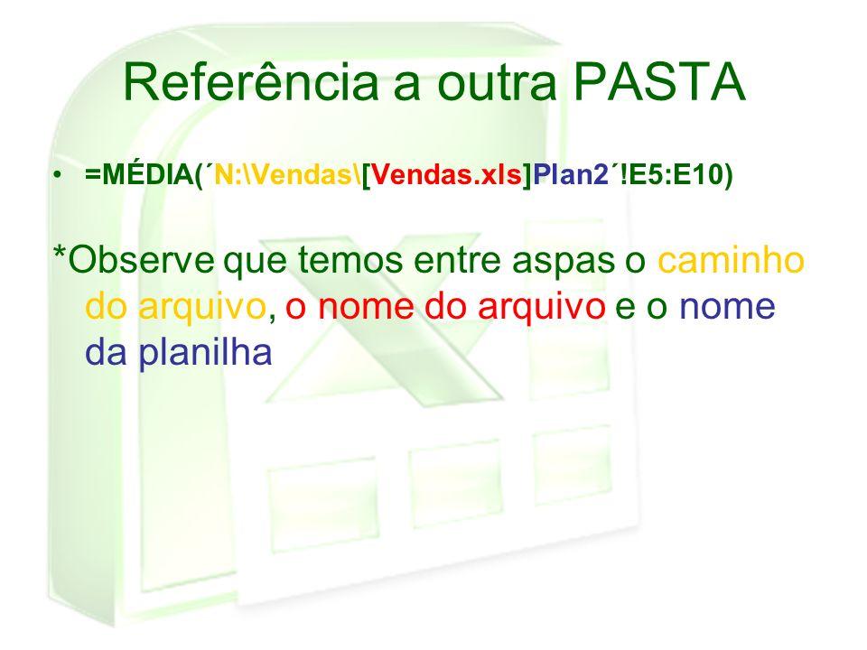 Referência a outra PASTA =MÉDIA(´N:\Vendas\[Vendas.xls]Plan2´!E5:E10) *Observe que temos entre aspas o caminho do arquivo, o nome do arquivo e o nome