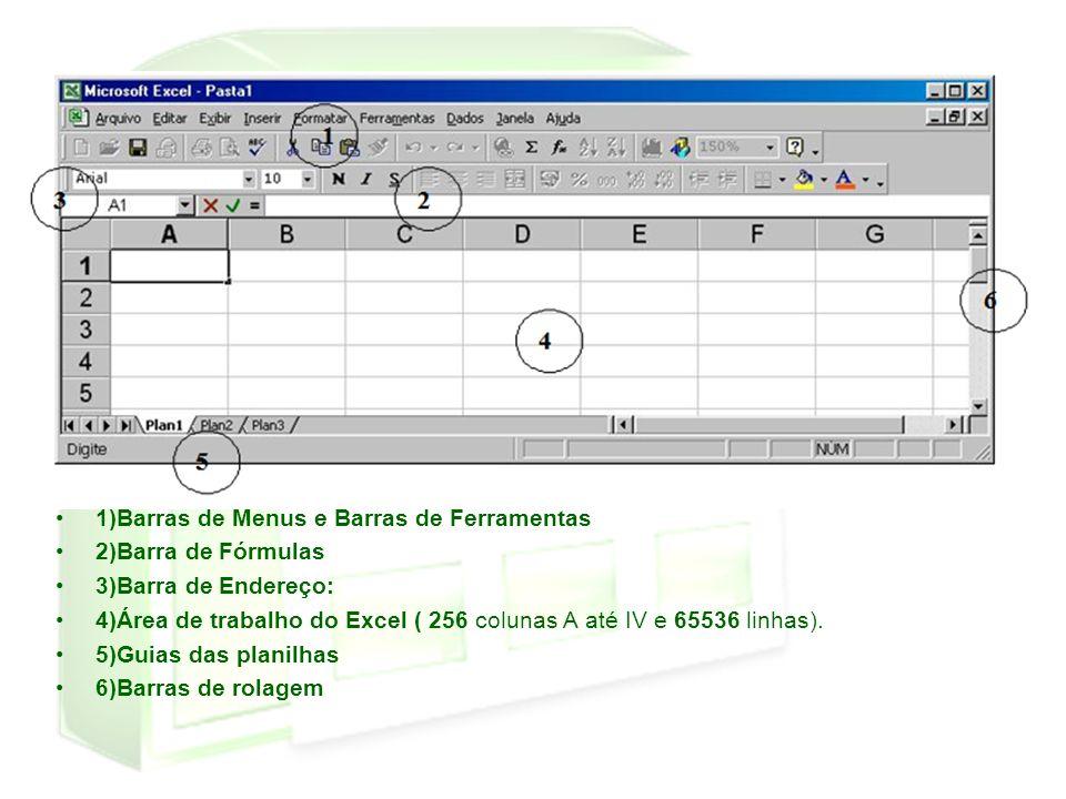 1)Barras de Menus e Barras de Ferramentas 2)Barra de Fórmulas 3)Barra de Endereço: 4)Área de trabalho do Excel ( 256 colunas A até IV e 65536 linhas).