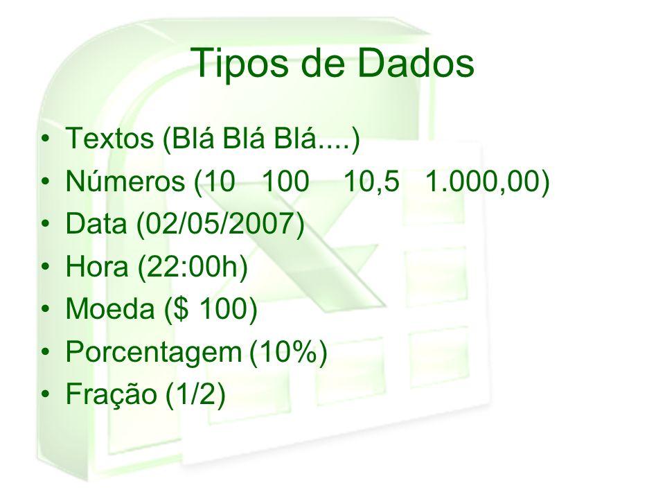 Tipos de Dados Textos (Blá Blá Blá....) Números (10 100 10,5 1.000,00) Data (02/05/2007) Hora (22:00h) Moeda ($ 100) Porcentagem (10%) Fração (1/2)