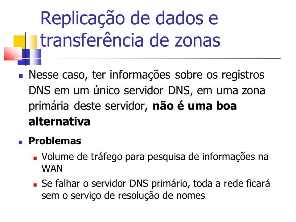 Replicação de dados e transferência de zonas Nesse caso, ter informações sobre os registros DNS em um único servidor DNS, em uma zona primária deste s