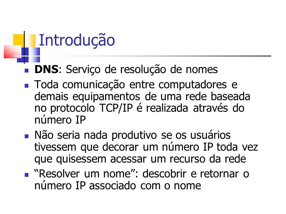 Introdução DNS: Serviço de resolução de nomes Toda comunicação entre computadores e demais equipamentos de uma rede baseada no protocolo TCP/IP é real